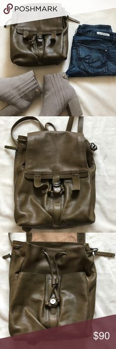 Lucky Brand backpack Olive green leather Lucky Brand backpack. A must-have accessory for the summer/fall season. Goes well with everything - jeans, dresses, work outfits. It's the ideal wear-anywhere bag: rugged, hardwearing and practical, the design is effortless off-duty cool. Gently used, has some minor marks which are not visible when wearing. There is a small stain on the inside canvas. Zipper on the left side - very convenient. Last picture with different colors is for reference only…