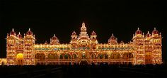 Mysore Palace at night, Mysore, Karnataka.