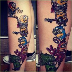 The Minions as The Avengers! - Marvel Tattoos That'll Make You Want to Be a Superhero - Photos Funny Tattoos, Great Tattoos, Beautiful Tattoos, Body Art Tattoos, Small Tattoos, Tattoos For Guys, Tatoos, Bad Tattoos, Marvel Tattoos