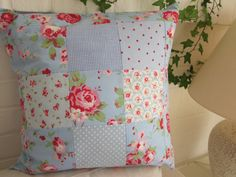 Shabby Chic Cushion Cover   16 x 16 by AnneLiseQuilts on Etsy