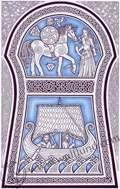 Runestone from Gotland, pagan poster