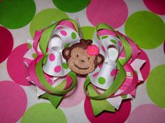 Mod Monkey Hair Bow Hot Pink Lime Green Dots Perfect by molliepops Monkey Birthday Parties, Birthday Ideas, Baby Birthday, Monkey Girl, Custom Bows, Bday Girl, Green Dot, Diy Hair Bows, Baby Headbands