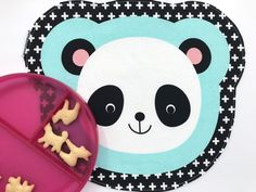 Panda Cloth Placemat Small Toddler Place Mat Unisex Gift After School Snack Mat Bento Box, Lunch Box, Panda Decorations, Animal Snacks, Toddler Table, Unisex Gifts, After School Snacks, Folded Up, Easy Peasy
