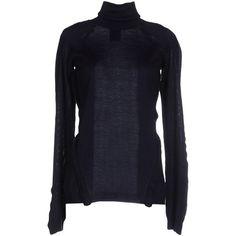 Antonio Berardi Turtleneck (€370) ❤ liked on Polyvore featuring tops, sweaters, dark blue, blue sweater, blue turtleneck, turtle neck top, blue turtleneck sweater and turtleneck sweater