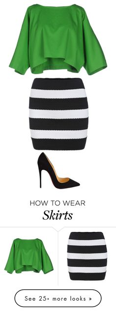 """""""Black and white striped skirt"""" by larry4ever-1d on Polyvore featuring Maison About, Christian Louboutin, women's clothing, women, female, woman, misses and juniors"""