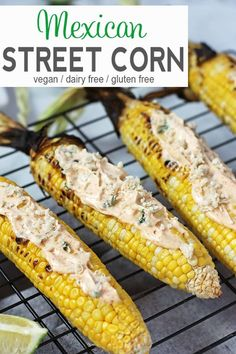 Vegan Street Fair Corn   A popular food at street fairs in NYC is Mexican Street Corn. Freshly grilled sweet corn is coated with a mixture of vegan cheese and spiced mayonnaise to make this Vegan Street Fair Corn even better than the original. vegan BBQ recipe, gluten-free, dairy-free, vegan recipe, vegetarian #veganstreetcorn #mexicanstreetcorn #vegangrilledcorn via @VNutritionist