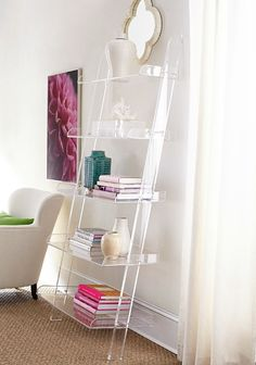 & Lucite Furniture - My Favorite Finds! Acrylic leaning bookshelf - so chic!Acrylic leaning bookshelf - so chic! Lucite Furniture, Acrylic Furniture, Glass Furniture, Furniture Decor, Furniture Movers, Outdoor Furniture, Furniture Outlet, Furniture Stores, Discount Furniture