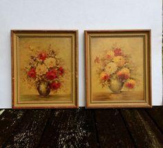 Set Of 2 Vintage 40's Floral Pictures-Borin Art Products-Chicago-Botanical Art #Vintage