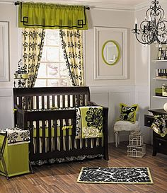 Love the lime green and black nursery