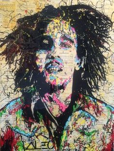 """Painting (acrylic and spray paint on Bob Marley music sheets on canvas with resin finish) """"Bob Marley"""" (2014) by Alec Monopoly"""