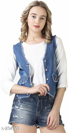 Capes, Shrugs & Ponchos Trendy Denim Shrug  *Fabric* Denim   *Sleeves* Sleeves Are Not Included   *Size* S - 36 in, M - 38 in, L - 40 in, XL - 42 in   *Length* Up To 18 in   *Type* Stitched   *Description* It Has 1 Piece Of Women's Shrug   *Pattern* Solid  *Sizes Available* S, M, L, XL *   Catalog Rating: ★3.9 (147)  Catalog Name: Free Mask Trendyfrog Trendy Denim Shrugs Vol 2 CatalogID_24100 C79-SC1024 Code: 243-234909-