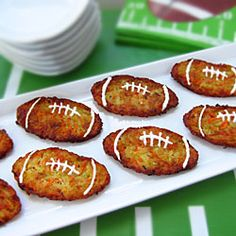 Very cute football shaped zucchini fritters. #superbowl #tailgating