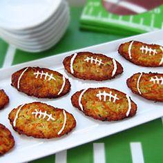 Super Bowl Appetizers - Football Shaped Zucchini Fritters (aka, Mücver)