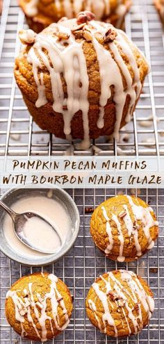 Pumpkin Pecan Muffins with Bourbon Maple Glaze are moist, perfectly spiced and a wonderful addition to your fall breakfast table! #muffins #pumpkinmuffins #pumpkin #pumpkinspice #breakfast #brunch #fallrecipes #thanksgiving Fall Breakfast, Breakfast Items, Sweet Breakfast, Muffin Recipes, Baking Recipes, Snack Recipes, Dessert Recipes, Breakfast Recipes, Savory Pumpkin Recipes
