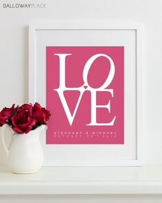 LOVE Print Wedding Sign Bridal Shower Gift by DallowayPlace, $22.00