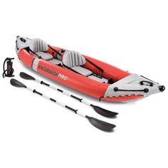 Intex 68309 Excursion Pro Inflatable 2 Person Vinyl Kayak with Oars & Pump, Red Tandem Fishing Kayak, Inflatable Fishing Kayak, Best Fishing Kayak, Fishing Rod, Inflatable Boats, Kayaks, Rafting, 2 Person Kayak, Perception Kayak