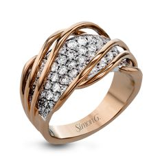 MR2604-Simon G. white and rose gold and diamond right hand fashion ring