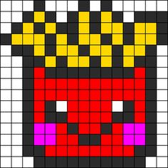 Kawaii Fries Perler Bead Pattern | Bead Sprites | Food Fuse Bead Patterns