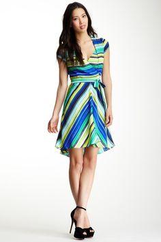 ECI Printed Cap Sleeve Full Skirt Dress on HauteLook