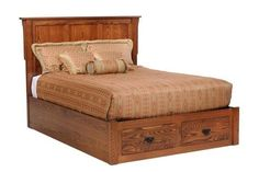 Amish San Juan Mission Storage Bed The San Juan mixes in storage in its beautiful build. This wood furniture for bedroom is handcrafted to last. Made in an Amish woodshop. Customize in choice of wood, stain, size and more. #storagebeds