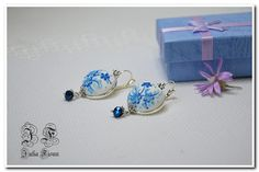 Floral Jewelry Earrings, Summer  Blue Earrings, Sterling Silver Floral Earrings, Polymer Clay Earrings, Applique Floral  Embroidery Filigree by BiJuly on Etsy