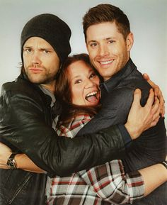 """J2 Photo op and what has now become among my friends and family the epitome of a fangirl face, apparently. All I asked them was to ""pretend that they loved me"" They both laughed at said ""We do NOT have to pretend that at all!!"" They squeezed me SOOOO hard I was absolutely shocked! So the camera man caught THAT look instead of the normal smile I did a split second later. :D <3 I'm Just in love...and they smelled...AMAZING tee hee!"" (Heather White photo op) I love this, Heather!!!! :D"