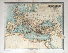 Old map of the Roman Empire, 1870