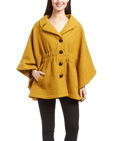 Look at this Steve Madden Mustard Button Cape on #zulily today!