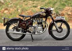 Stock Photo - Royal Enfield Bullet 350 cc 1954 made in England in India Enfield Bike, Enfield Motorcycle, Enfield England, Bullet Modified, Royal Enfield Classic 350cc, Old Bullet, Royal Enfield Wallpapers, Indian Army Wallpapers, Bullet Bike Royal Enfield