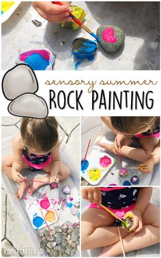 10 Ways to Play With Rocks {Sensory Summer} - Painting! This is the perfect outdoor activity for summer tot school, preschool, or kindergarten! # summer activities for kids 10 Ways to Play with Rocks {Sensory Summer} - Mrs. Outdoor Activities For Toddlers, School Age Activities, Toddler Learning Activities, Summer Activities For Kids, Summer Kids, Educational Activities, Outdoor Fun For Kids, Kids Fun, Infant Activities