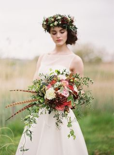 wild at heart autumn wedding inspiration shoot -- flower crown | Paula O'Hara Photography