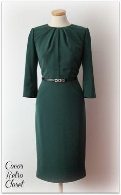 Emerald Green Dress by Coco's Retro Closet (Burda 8/2012 #121 - Long Sleeve Seamed Dress)