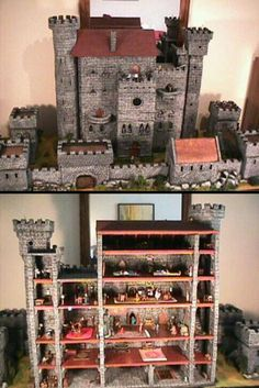 Hirst Arts Castle. An Incredibly elaborate 28mm scale castle built brick by brick.