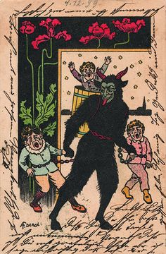 Such cards have been exchanged in Europe since the 1800s and were particularly popular in the early part of the 20th century, often accompanied with the phrase Gruß vom Krampus (Greetings from the Krampus).   71QPJ+1YQIL