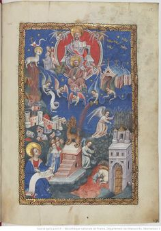 The adoration of the Lamb, the fall of Babylon, the harvesting of the earth Apocalypse, Bnf, Medieval Art, Red Cross, Illuminated Manuscript, Lamb, Religion, Earth, Painting