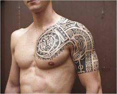 Cool Tribal Design Tattoo On Left Shoulder And Chest with regard to size 1000 X 1000 Tattoos On Chest And Shoulder - Trying to find shoulder tattoo design Tattoos Geometric, Tribal Tattoos For Men, Tribal Sleeve Tattoos, Best Sleeve Tattoos, Tribal Tattoo Designs, Tattoo Sleeve Designs, Tattoos For Guys, Half Sleeve Tattoos Black, Shoulder Sleeve Tattoos