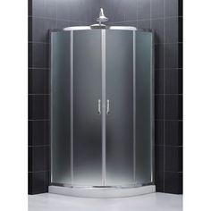 "Bath Authority DreamLine Prime Frameless Sliding Shower Enclosure and SlimLine Quarter Round Shower Base (38"" by 38"") 