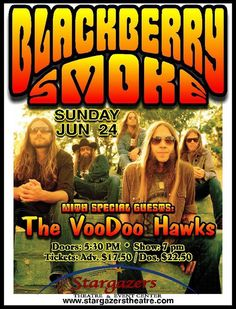Blackberry Smoke with special guests: The Voodoo Hawks concert poster.