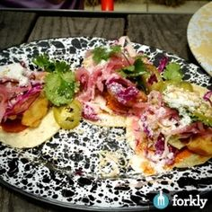 Baja Fish Tacos - Pickled Jalapeños & Red Onions, Cotija Cheese, Creme Fraiche, Salsa Roja, Cabbage & Cilantro at A-Frame in Culver City