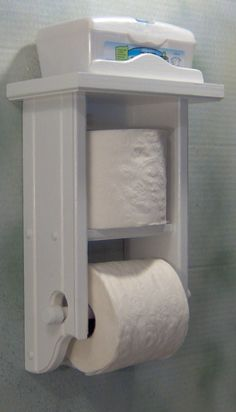 Toilet paper holder white shelf and second roll shelf by jahnjed, $29.50