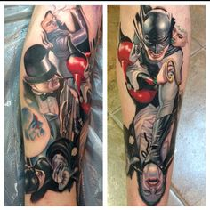 "@stevewimmer's photo: ""Got to add to this batman leg sleeve today, pic on the right is healed for the first session, and added the rest today. #batman #darkknight #alexross"""