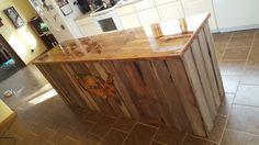 Pallet wood countertop old barn wood island.