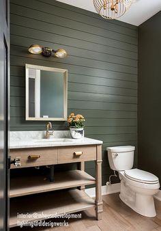 Dark Green Bathrooms, Green Bathroom Paint, Small Dark Bathroom, Green Kitchen Walls, Dark Green Walls, Green Painted Rooms, Bright Green Bathroom, Painted Bathrooms, Dark Green Kitchen