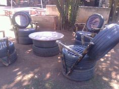 Outdoor furniture made of up-cycled tires.