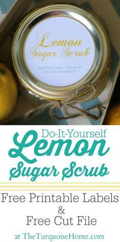 DIY Lemon Sugar Scrub with free printable labels via TheTurquoiseHome.com