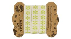 Baumwollband, weiß, grüne Blüte, selbstklebend, 16 mm, 1 m
