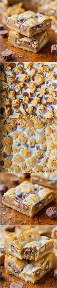 Peanut Butter Cup Cookie Dough Crumble Bars - Soft, chewy, gooey & loaded with Peanut Butter Cups! Easy recipe at averiecooks.com