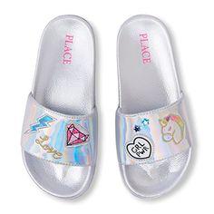 The Children's Place Girls' BG Patch Slides Flat Sandal, . Unicorn Fashion, Unicorn Outfit, Frozen Headband, Justice Shoes, Cute Slides, Barbie Doll Set, Girls Flip Flops, Princess Toys, Baby Doll Accessories