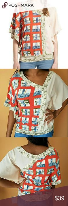 ANTHROPOLOGIE Vanessa Virginia Askew Kimono Top EXCELLENT GENTLY LOVED CONDITION! Beautiful, vibrant top by Anthropologie\'s Vanessa Virginia brand. Batwing / Kimono sleeves. Asymmetrical pattern and v-neck line. Patchwork / Color block pattern. No rips, tears, or stains. Please use the offer button for all offers. Feel free to bundle for a great discount! No trades, ladies. Anthropologie Tops Blouses