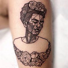 Frida Kahlo Portrait Geometric Tattoo Design